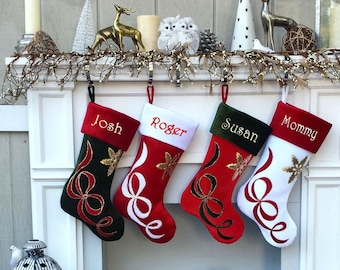 375e4977508 Embroidered Stockings - Velvet Christmas Applique - Custom Personalized -  Available in Different Colors