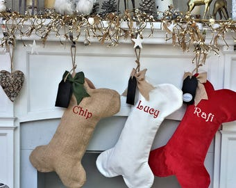 Dog Bone Christmas Stockings Christmas Decor Embroidered Personalized Holiday Pet with Bone Customized Embroidered with Dog's Name