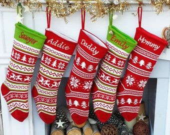 fair isle personalized 19 knitted christmas stockings intarsia red green white knit modern christmas family stockings for holidays