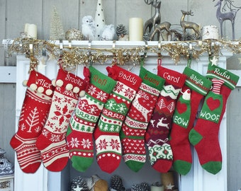 knitted christmas stockings red ivory green fun snowflake family with pets cat mouse meow and dog bone woof knit personalized embroidered - Pictures Of Decorated Christmas Stockings