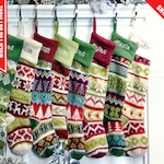 Personalized Knitted Christmas Stockings Green White Red Intarsia Fair Isle Knit Christmas Decor Deer Snowflakes Extra Large
