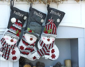childrens snowman personalized stockings burgundy grey cozy winter christmas stockings for kids burgundy red gray snowman holiday stockings - Modern Christmas Stockings