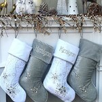 "Personalized Christmas Stockings - Silver White Velvet 20"" with ICE crystal gems Christmas Stocking Embroidered with Names Velvet Stockings"
