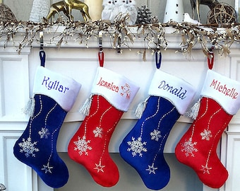 Personalized Christmas Stockings Snowflake Bling Red White Silver Blue