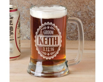 1a636559695 Single 16 Oz Beer Stein Classic Personalized Groomsman Groom Best Man Beer  Mug Engraved Wedding Celebration Gift Idea Etched Bachelor Idea