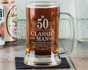 50th Birthday Classic Man 16Oz Beer Mug Stein Glass Engraved Father Gift Idea Etched From Son Daugther Present