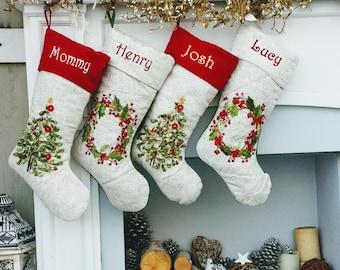 embroidered christmas stockings heirloom linen designer embellished christmas tree wreath white ribbon beads stocking - Embroidered Christmas Stockings