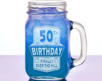 Half Way To 100 50th Birthday Gift For Him Her 16 Oz Mason Jar