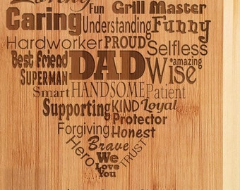 Personalized Dad Fathers Day Recipe Engraved Cutting Board From Daughter To Daddy Gift Papa PawPaw Best New First Birthday Present