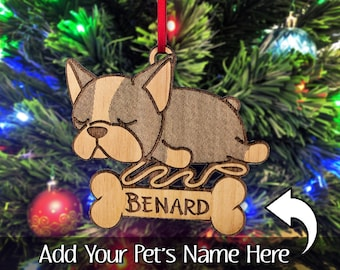 french bulldog christmas gift bulldog ornament engraved present idea for sister brother rustic wood rescue dog tree decoration for holidays