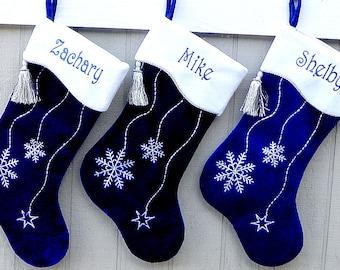 blue christmas stockings snowflake hanukkah bling snowflake personalized stocking elegant modern family stocking silver decor monogramed