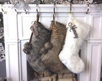 """20"""" 21"""" 23"""" Faux Fur Christmas Stockings Ivory Brown Grey Personalized with Cutout Wood Name Tag PomPoms Lodge Woodland Custom Xmas Decor"""