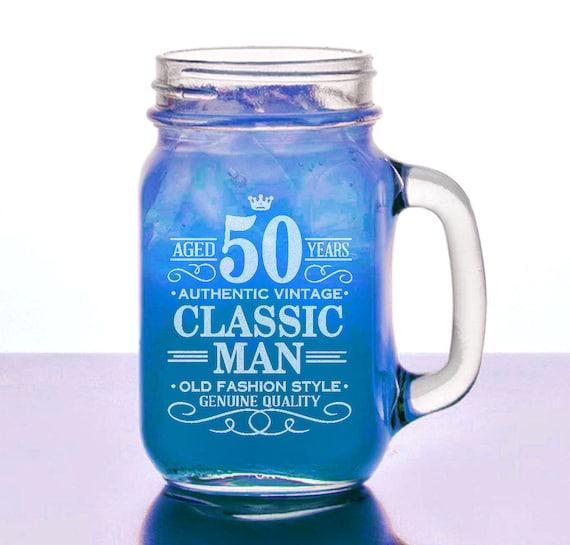 50th Birthday Gift For Him 16 Oz Mason Jar Happy
