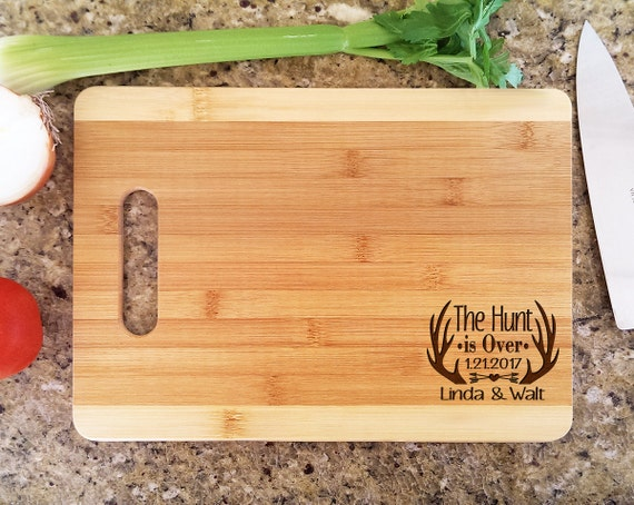 Cute Cutting Board Quote The Hunt is Over Couples Wedding Gift Personalized  with Date, Names Valentines Wedding Housewarming Kitchen Decor