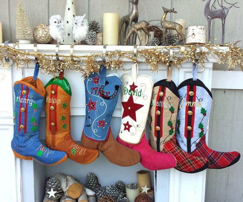 Cowboy Boot Christmas Stockings Country Western Personalized With Embroidered Names Or Monogram For Cowboys Or Cowgirls