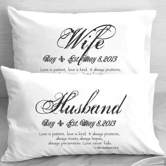 wife husband bible verse pillow cases 1 corinthians 13 love etsy