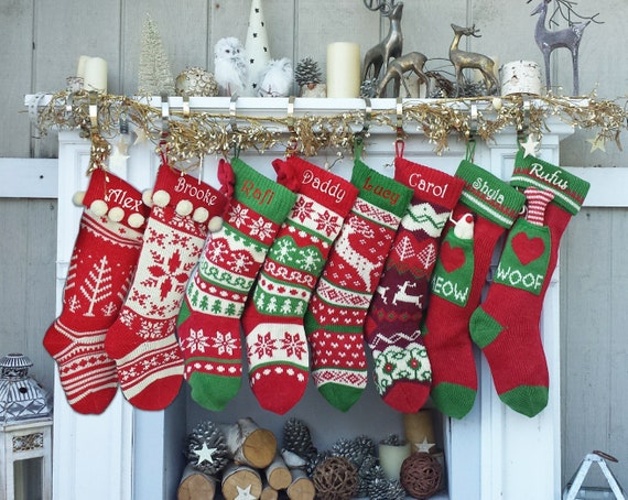 Knitted Christmas Stockings Red IVORY Green