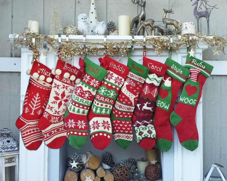 Knitted Christmas Stockings.Knitted Christmas Stockings Red Ivory Green Fun Snowflake Family With Pets Cat Mouse Meow And Dog Bone Woof Knit Personalized Embroidered