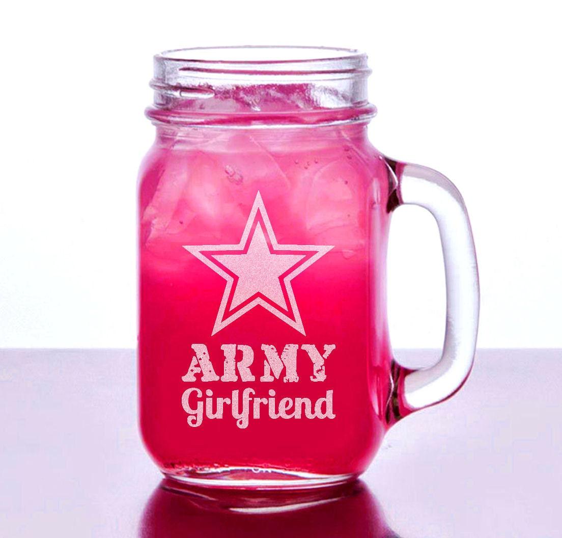 Army Girlfriend Gift Idea Engraved Mason Jar 16oz Personalized