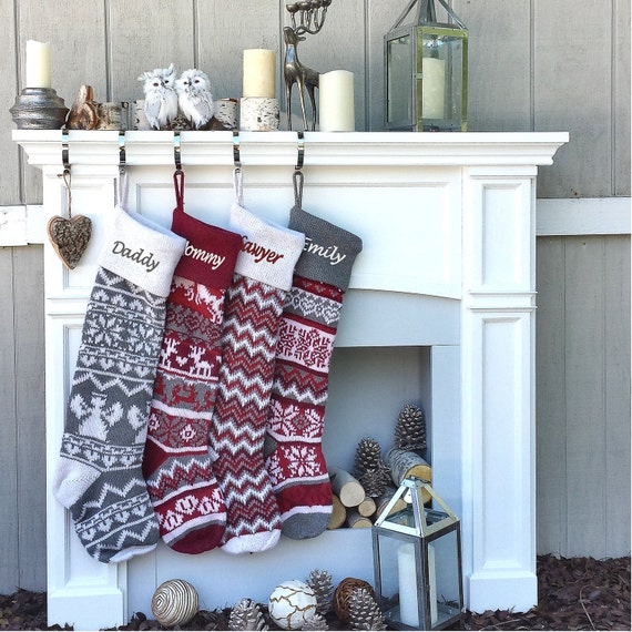 Knitted Christmas Stockings.Personalized Large 28 Knitted Christmas Stockings Red Grey White Intarsia Fair Isle Nordic Modern Christmas Stockings For Holidays