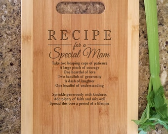Mothers Gift Personalized Recipe for a Special Mom Custom Cutting Board Gift for Mom Mommy Birthday Mother's Day Christmas Gift from kids