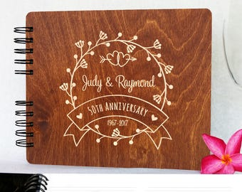 Wedding Anniversary Guestbook Personalized Wooden Guest Book Made in USA  50th Anniversary 60th Anniversary 25th 20th 5th 30th Gift