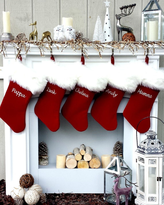 Christmas Stocking Personalized.Personalized Christmas Stockings Velvet 19 Luxury Faux Fox Fur Cuff Christmas Stocking Embroidered With Names Velvet Stockings