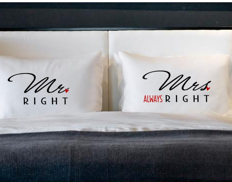 Mr Right Mrs Always Right Pillow Cases For Pillows Weddings Engagement Couples Gifts Cotton Anniversary