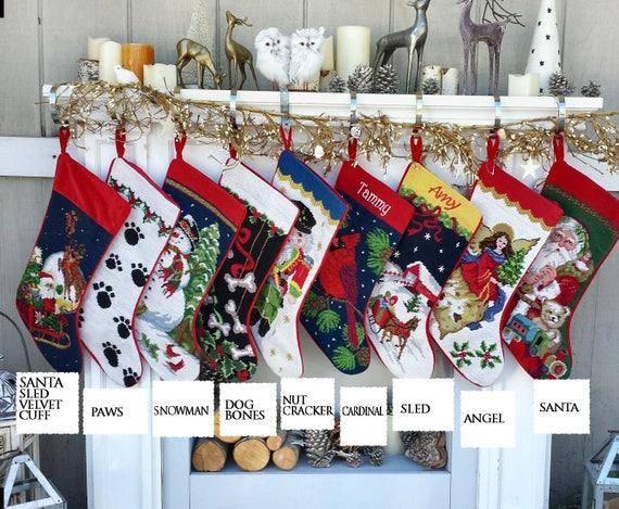 Needlepoint Christmas Stockings.Needlepoint Christmas Stockings Personalized Santa Nutcracker Snowman Dog Bones Pet Old World Finished Embroidered Stockings With Names X