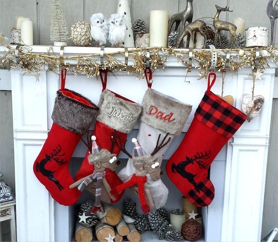Gray Christmas Stockings.Children S Merry Moose Reindeer Christmas Stockings Embroidered Name Fun Red Gray Black Fur Buffalo Plaid Family Stocking Large Deer
