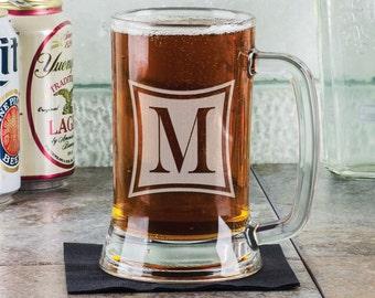 Monogrammed Beer Mug Personalized Initial Monogram Beer Stein Custom Engraved Beer Glass Bachelor Birthday Bridal Party Gift for Groomsman