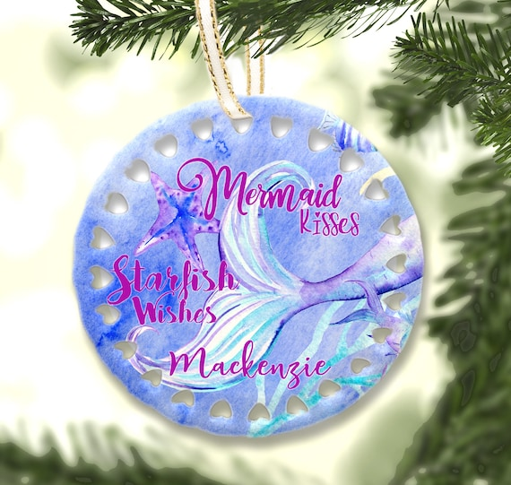 Christmas Ornaments With Names On Them.Mermaid Christmas Ornaments Personalized With Name Mermaid Wishes Starfish Kisses Birthday Christmas Party Gifts Women Girls Christmas Tree