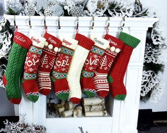 Knitted Christmas Stockings Red Ivory Green Cable Knit Family with Pets Cat Mouse Dog Bone  JOY LOVE NOEL Personalize Embroider Family Xmas