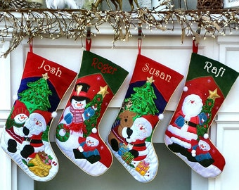 Applique Santa and Friends Christmas Stockings Embroidered with Names or Personalized Monogram for Kids and Adults