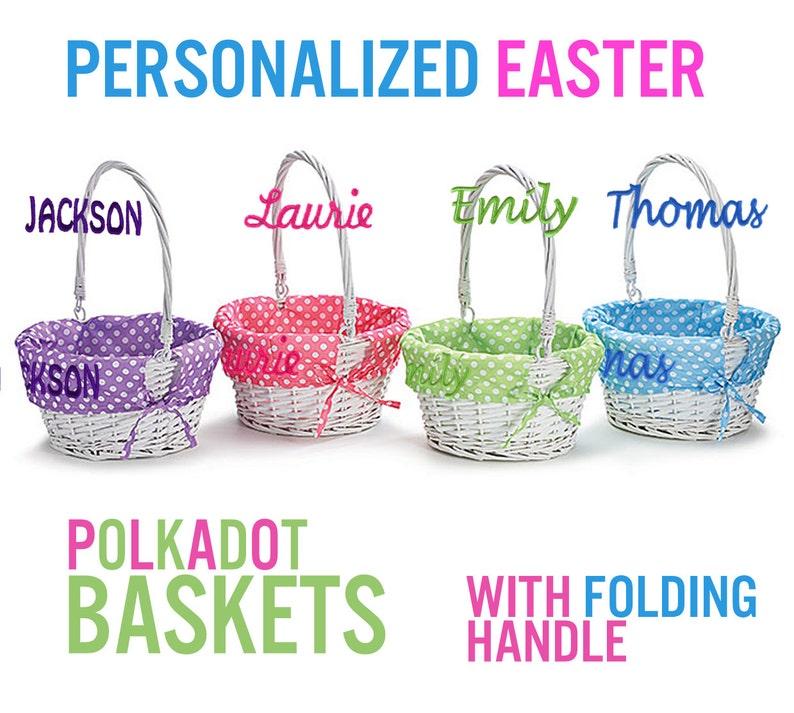 Personalized Easter Basket Easter Baskets Folding Handle image 0