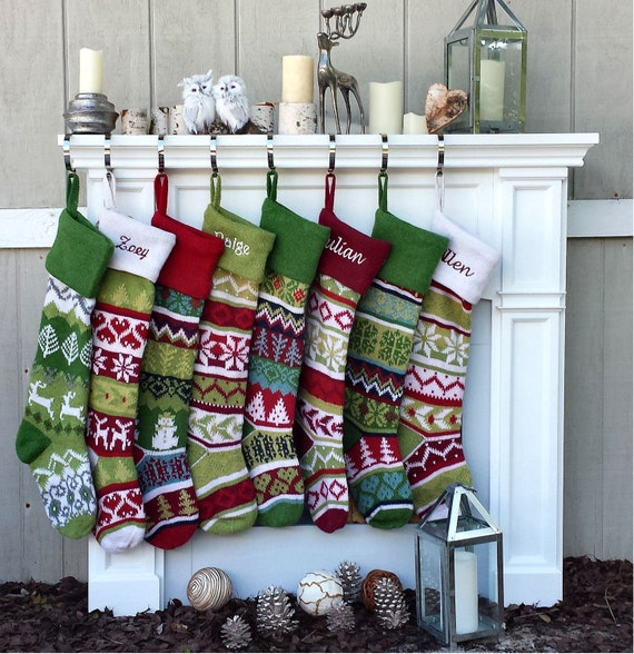 Knitted Christmas Stockings.Personalized Knitted Christmas Stockings Red Green White