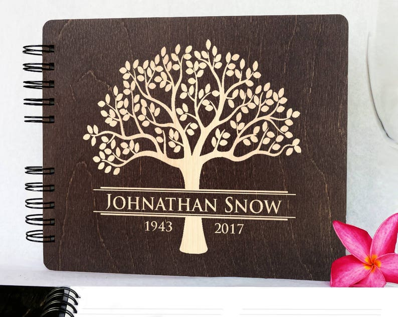 Funeral Guest Book Personalized Wooden Memorial Guestbook Made image 0