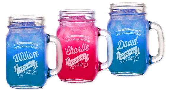 personalized mason retro groomsmen gift jar glass handle etsy