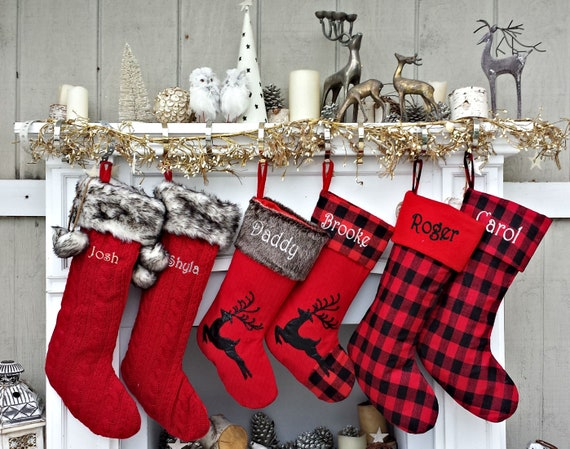 Tartan Wreath /& Reindeer Christmas Stocking Decoration
