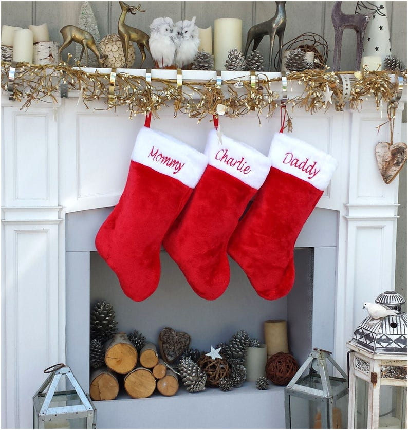 f3e44034acd Red white plush embroidered Christmas stocking Personalized