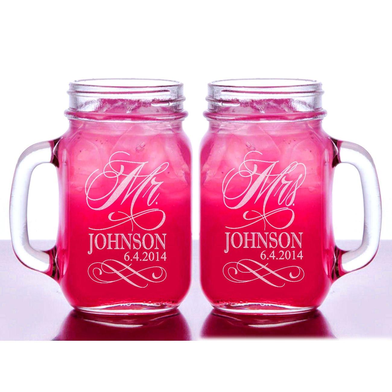 Mr and Mrs Personalized Wedding Mason Jars Set of 2 Engraved   Etsy