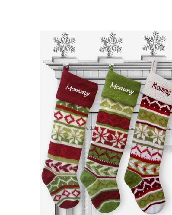 50 - White Knit Christmas Stockings
