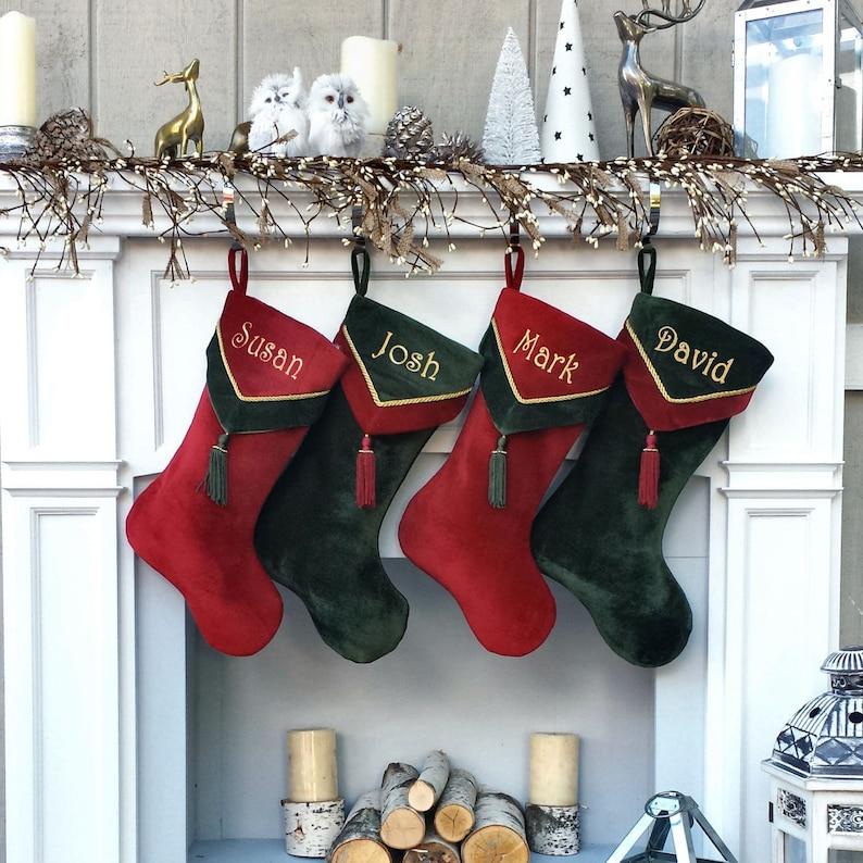 ac4853020da14 Designer Velvet Christmas Stockings V-Cuff Tassel - Custom Embroidered with  Names