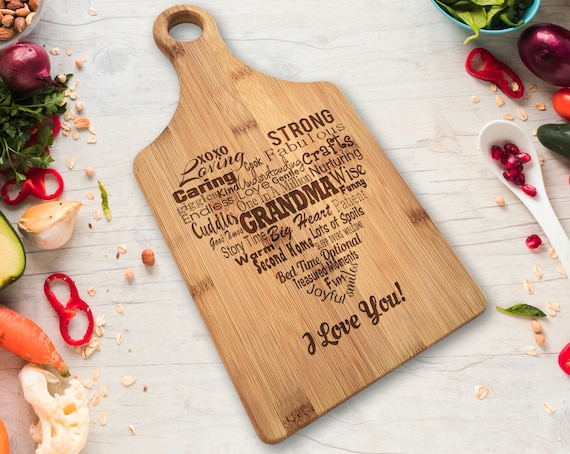 Engraved We Go Together Like Large Paddle Chopping Board Personalised