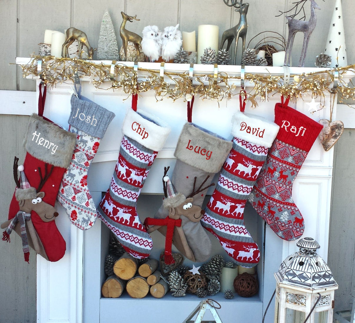 Reindeer Fun Reindeer Knit Christmas Stockings Red White Gray Scandinavian Nordic Knitted Holiday Theme Kids Adults Personalized Christmas