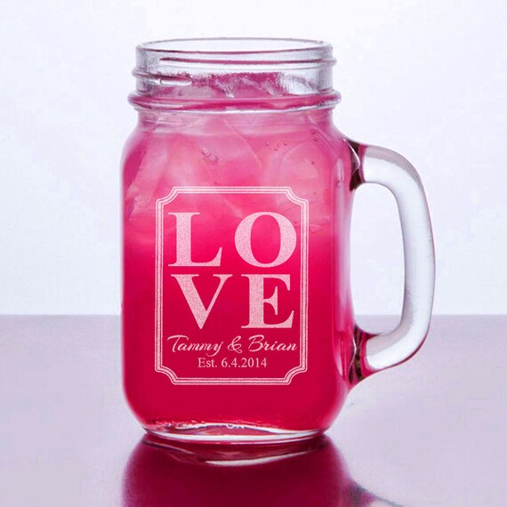 Barn Wedding Favor Love Personalized Mason Jar Mugs Rustic Etsy