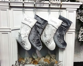 """Personalized Christmas Stockings - Silver White Velvet 20"""" with ICE crystal gems Christmas Stocking Embroidered with Names Velvet Stockings"""