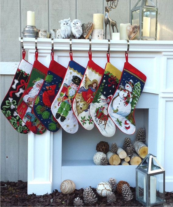 Christmas Stocking Personalized.Needlepoint Christmas Stockings Personalized Santa Nutcracker Snowman Dog Bones Pet Old World Finished Embroidered Stockings With Names X