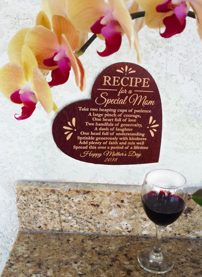 Mothers Day Gift Personalized Recipe For A Special Mom Wood
