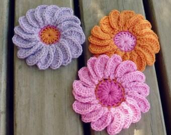 PDF Crochet Flower Pattern - Gerbera Easy beginner Photo Tutorial crochet pattern - Flower crochet pattern - Instant DOWNLOAD